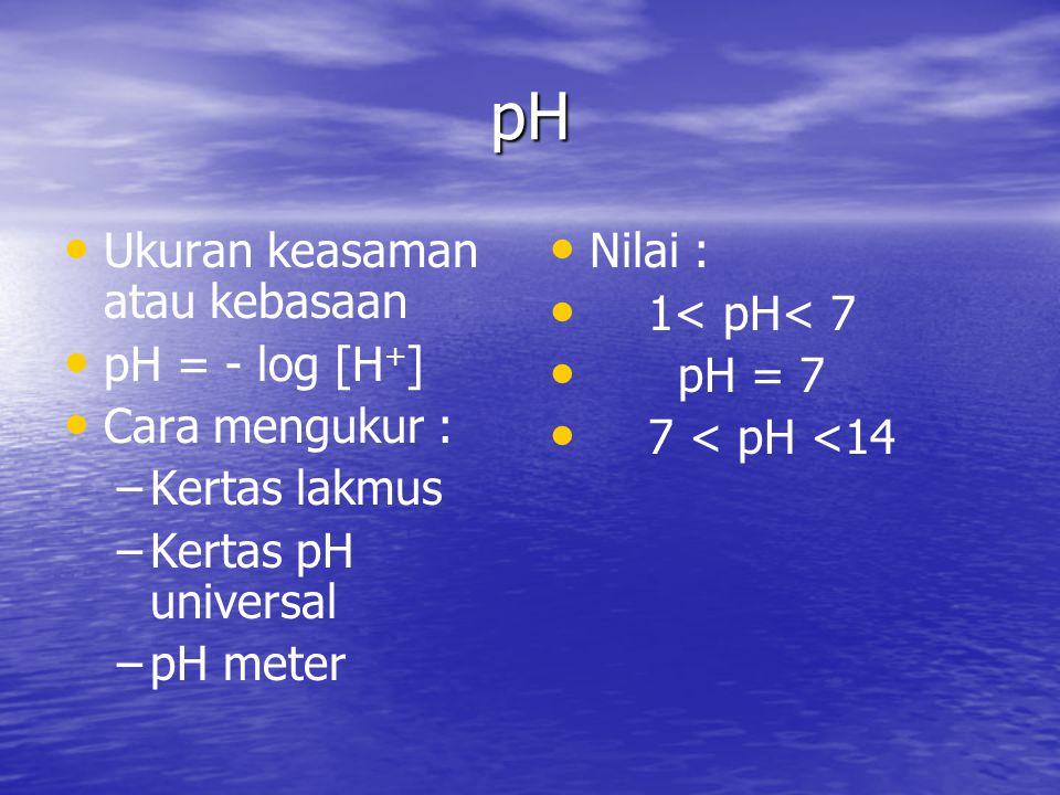 pH Ukuran keasaman atau kebasaan pH = - log [H+] Cara mengukur :